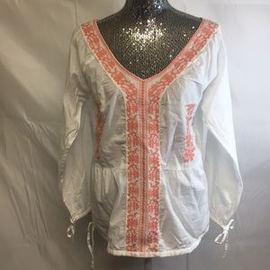 Sundance catalog peasant blouse embroidered top S